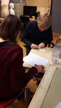 Eirik og Olaug nummerer alle insektfellene før de legges ut på museet, Dalane Folkemuseum. Foto: Jeanne Dalbu