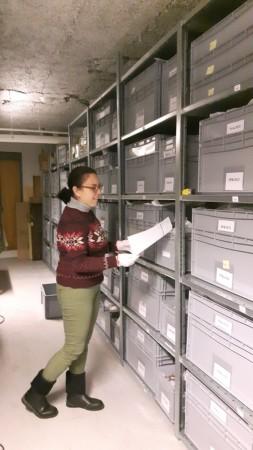 Magasinarbeid: Belen registrer fast plassering, Dalane Folkemuseum. Foto: Jeanne Dalbu